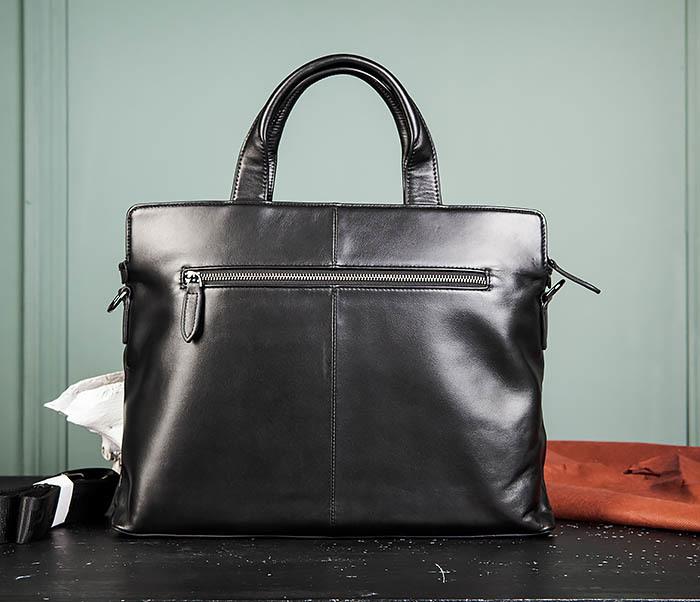 BAG486-1 Деловая кожаная мужская сумка с ремнем на плечо фото 05