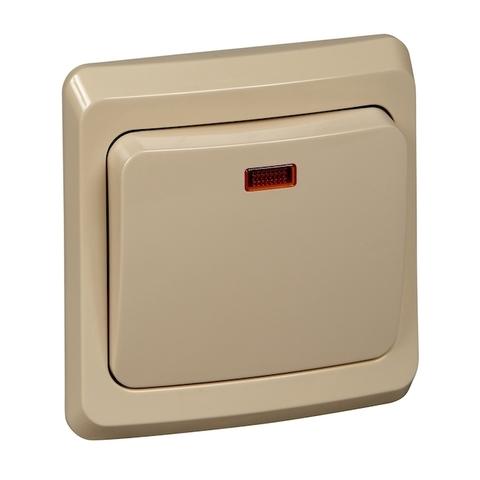 Выключатель одноклавишный с подсветкой (схема 1) 10 АХ 250 В. Цвет Кремовый. Schneider Electric(Шнайдер электрик). Этюд. BC10-005K