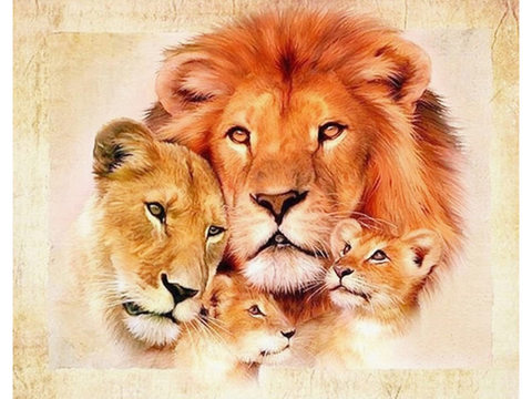 Алмазная Мозаика 20x30 Семейство львов