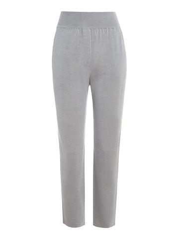 Женские брюки с карманами светло-серого цвета из шелка и вискозы - фото 1