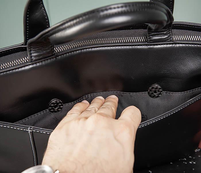 BAG486-1 Деловая кожаная мужская сумка с ремнем на плечо фото 07