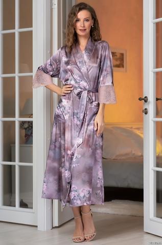 Длинный шелковый халат Mia-Amore Аврора(70% нат.шелк)