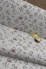 Льняная интерьерная ткань принт СОБАЧКИ
