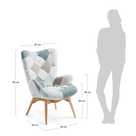 Кресло Knut голубое