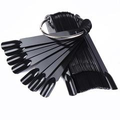 Палитра веер на кольце 50 ногтей Черная
