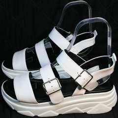 Удобные босоножки сандалии женские Evromoda 3078-107 Sport White