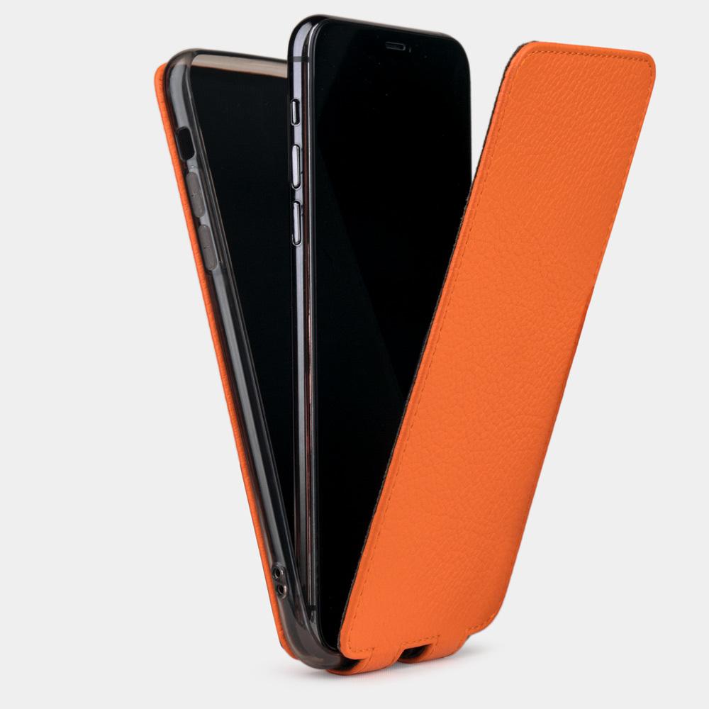 Чехол для iPhone XR из натуральной кожи теленка, оранжевого цвета