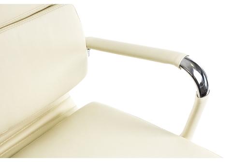 Офисное кресло для персонала и руководителя Компьютерное Samora кремовое 64*64*115 Хромированный металл /Кремовый кожзам