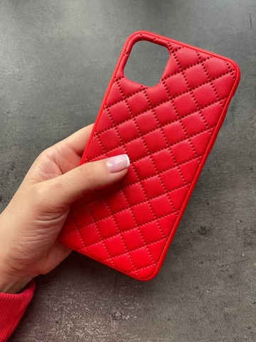 Чехол iPhone 12 Pro /6,1''/ Quilted Leather case /red/