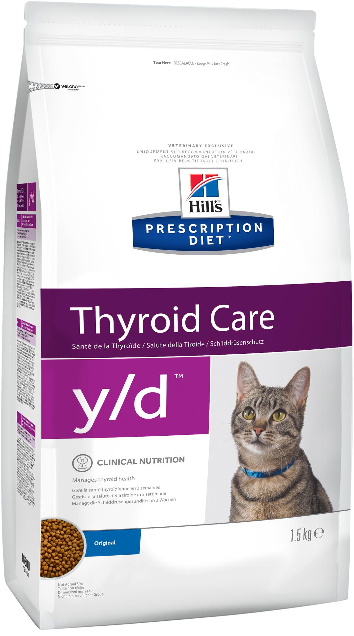 купить хиллс Hill's™ Prescription Diet™ Feline y/d™ Thyroid Care сухой корм для взрослых кошек, диетический рацион при гипертиреозе состав 1.5 кг