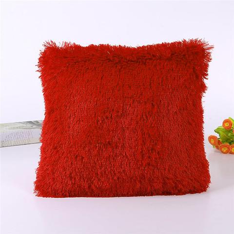 Подушка интерьерная с длинным ворсом, терракотового цвета