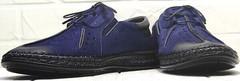 Мужские туфли с перфорацией мокасины летние стиль smart casual Luciano Bellini 91268-S-321 Black Blue.