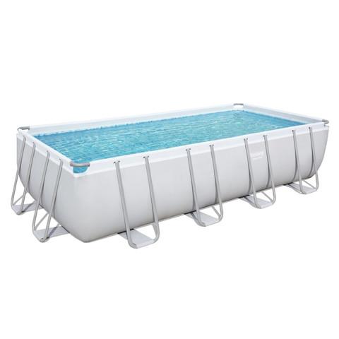 Каркасный прямоугольный бассейн Bestway 56475 (732х366х132 см) с песочным фильтром, лестницей и тентом / 6894