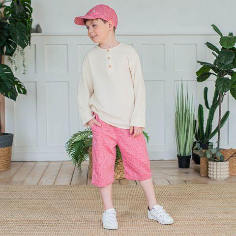 Cotton bermuda shorts for teens - Claret Melange
