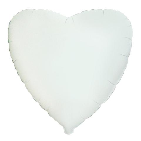 Шар-сердце белый, 45 см