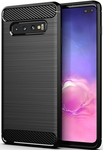 Чехол Samsung Galaxy S10 Plus цвет Black (черный), серия Carbon, Caseport