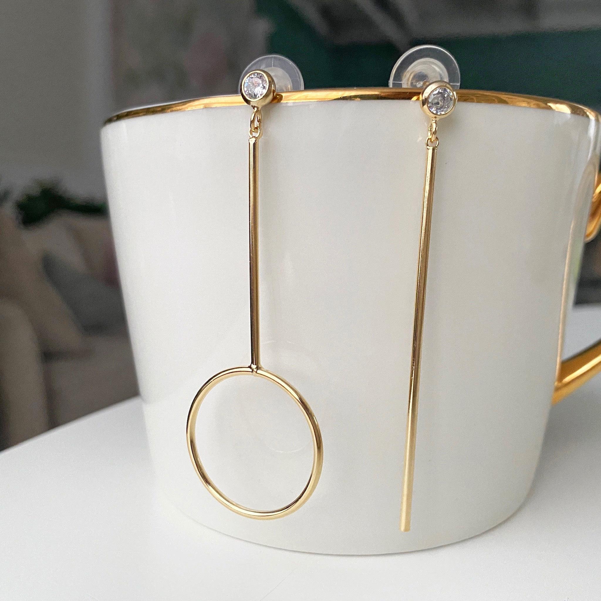 Серьги-подвески асимметричные Линия и Кольцо (золотистый) ш925