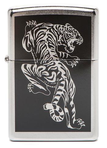 Зажигалка Zippo Tigre с покрытием Brushed Chrome, латунь/сталь, серебристая, матовая, 36x12x56