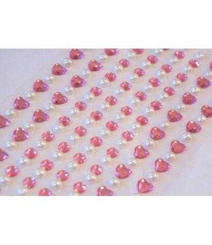 Стразы самоклеющиеся сердечки+жемчуг розовые 152 шт