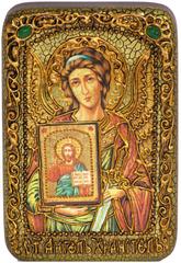 Икона Ангел Хранитель инкрустированная 15х10см на натуральном дереве в подарочной коробке