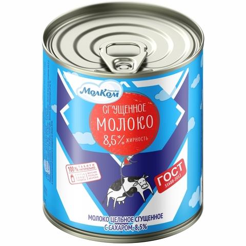 Молоко сгущеное с сахаром 8,5% 380 гр ж/б МолКОМ КАЗАХСТАН