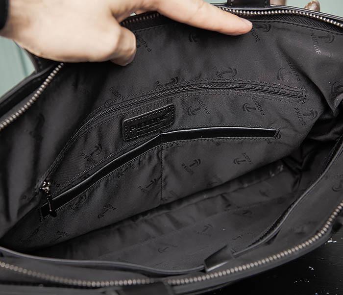 BAG486-1 Деловая кожаная мужская сумка с ремнем на плечо фото 11