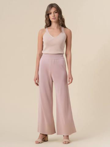 Женские брюки-клеш светло-розового цвета из шелка и вискозы - фото 2