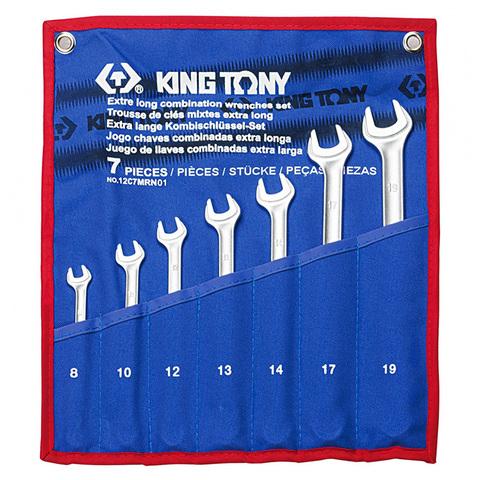 KING TONY (12C7MRN01) Набор комбинированных удлиненных ключей, 8-19 мм, 7 предметов