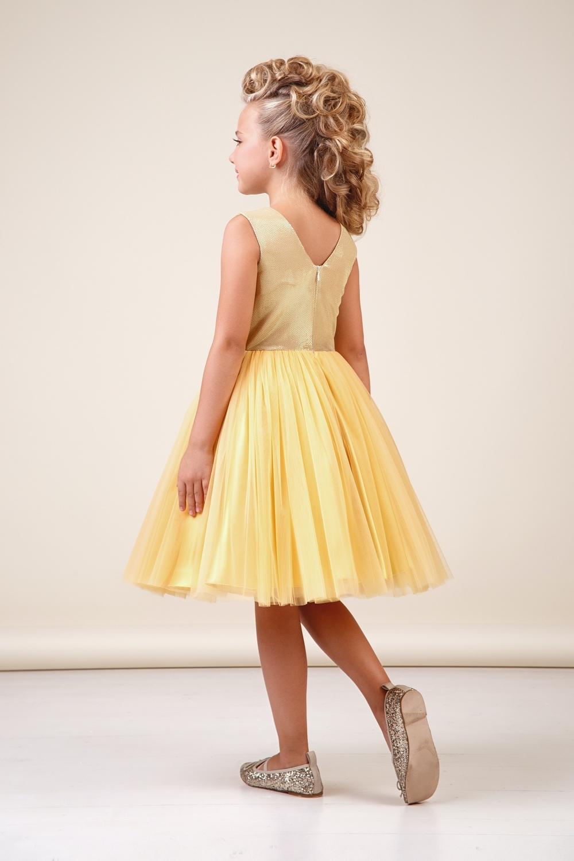 Платье золотистое для девочки 38-8037-1