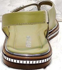 Женские кожаные босоножки с ремешком на пятке Evromoda 454-411 Olive.