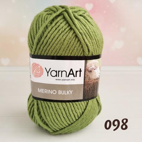 YARNART MERINO BULKY 98, Зеленый