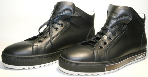 Осенние ботинки сникерсы мужские. Высокие кеды ботинки натуральная кожа Ikoc Black.