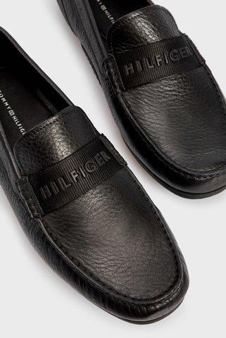Мужские черные кожаные мокасины 3D PRINT WEBBING DRIVER Tommy Hilfiger