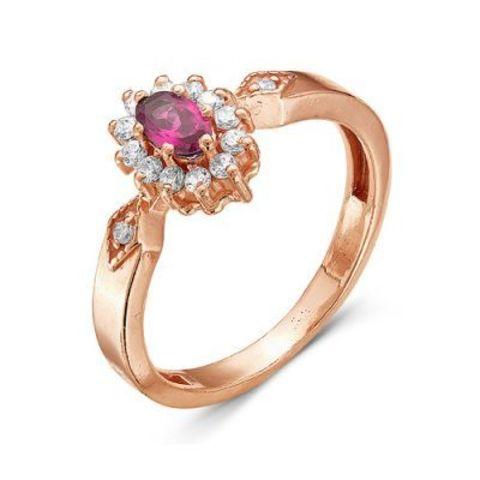 Серебряное кольцо с корундом и позолотой