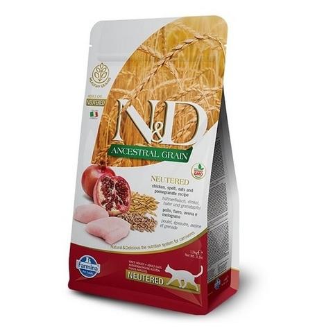 10 кг. FARMINA N&D LG Сухой низкозерновой корм для стерилизованных кошек с курицей и гранатом Adult Cat Neutered