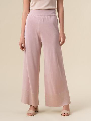Женские брюки-клеш светло-розового цвета из шелка и вискозы - фото 4