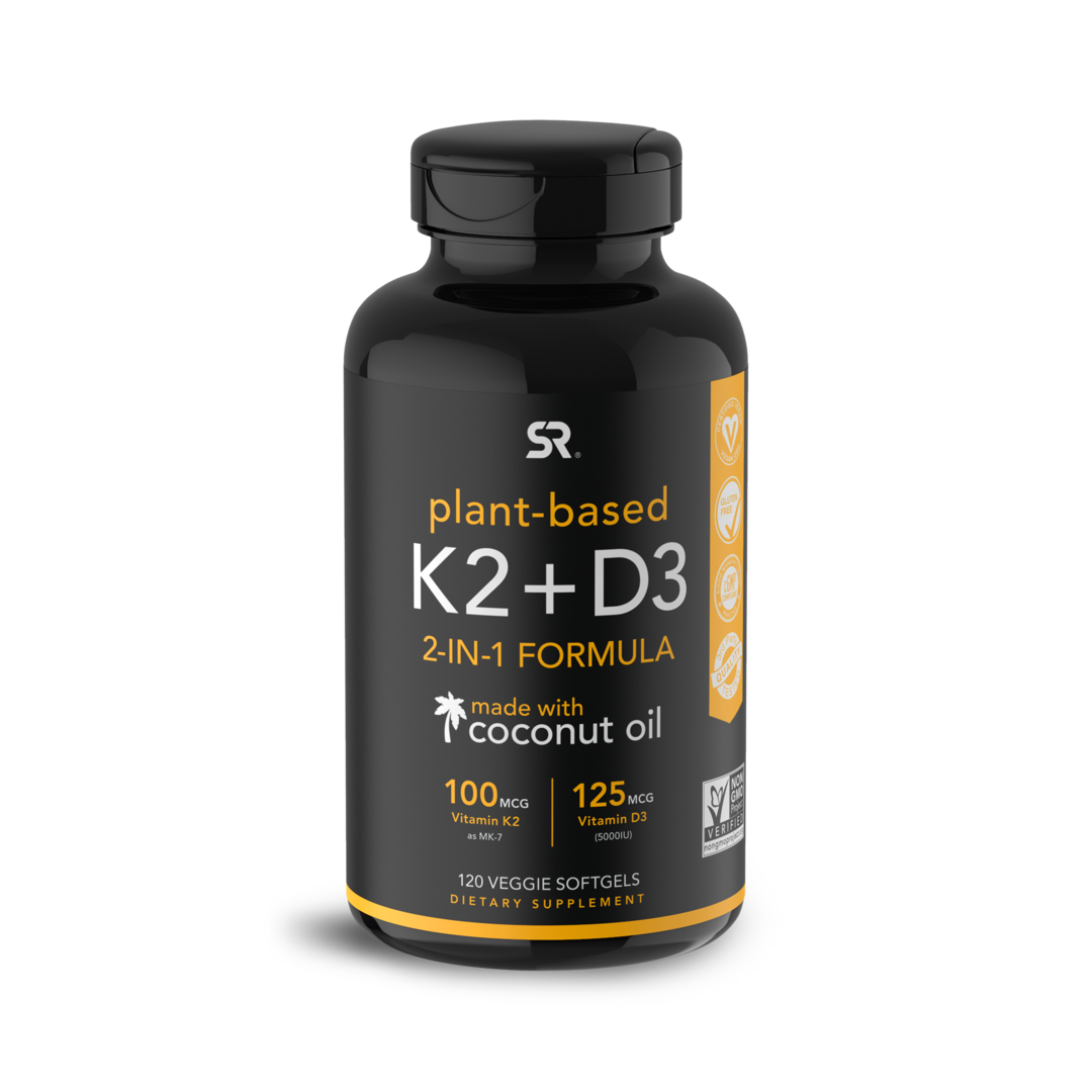 Vitamin D3/K2 5000 ME, Vitamin D3/K2, Sports Research, (120 kapsul)