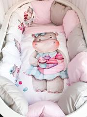 Бортики для кроватки с одеялком «Бегемотики»