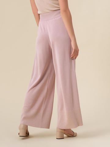 Женские брюки-клеш светло-розового цвета из шелка и вискозы - фото 3