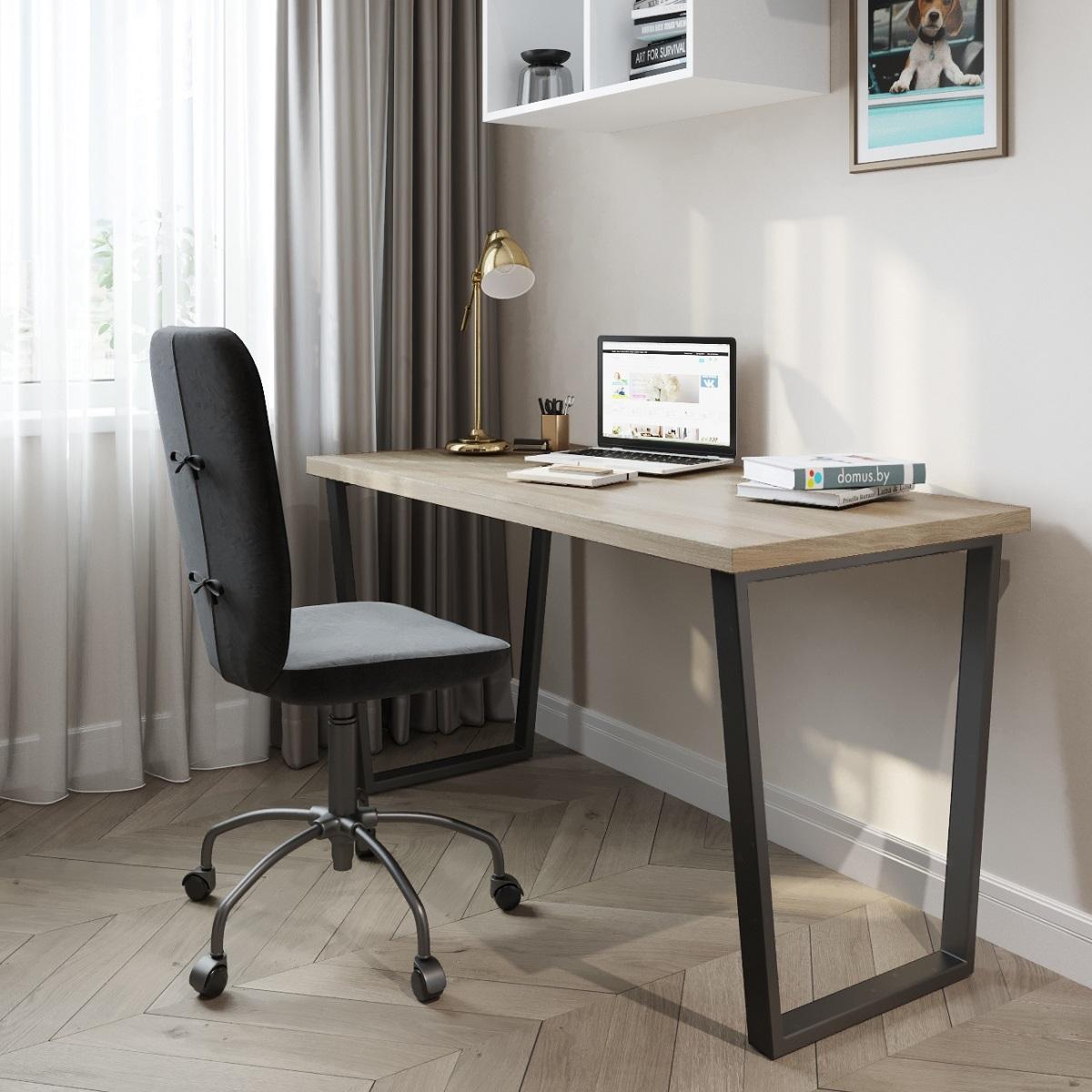 Письменный стол ДОМУС СП013 вяз светлый/металл черный