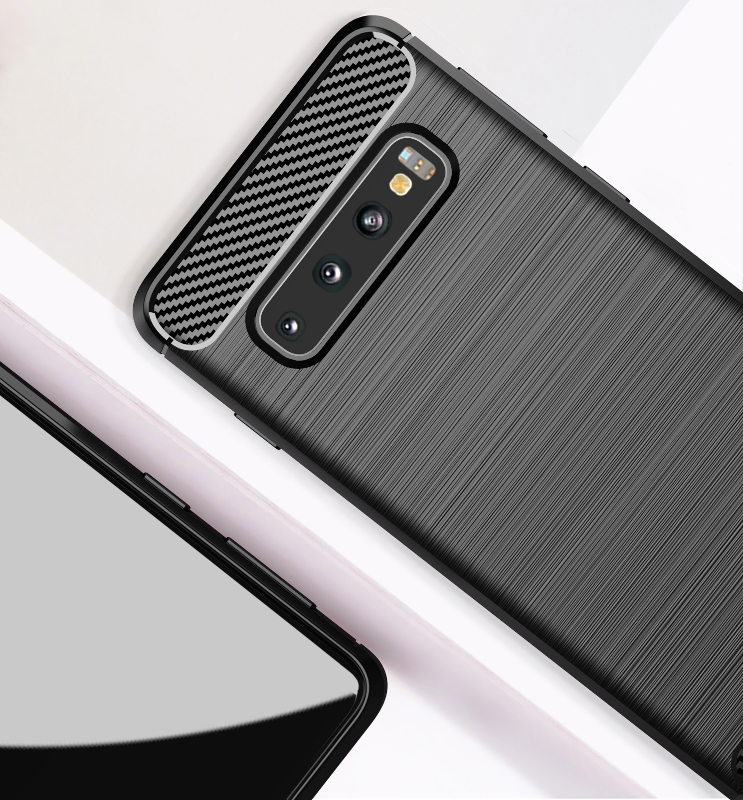 Чехол для Samsung Galaxy S10 Plus цвет Black (черный), серия Carbon от Caseport