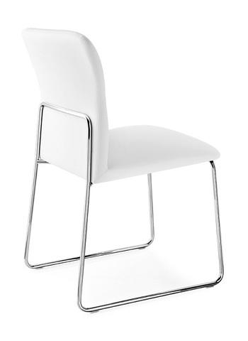 Стул FRIDA CB/1806-SK MT.P77 CHROMED/ SKUBA S92 OPTIC WHITE (обеденный, кухонный, для гостиной), Материал каркаса: Металл, Материал сиденья: Экокожа, Цвет сиденья: Белый, Цвет: Белый