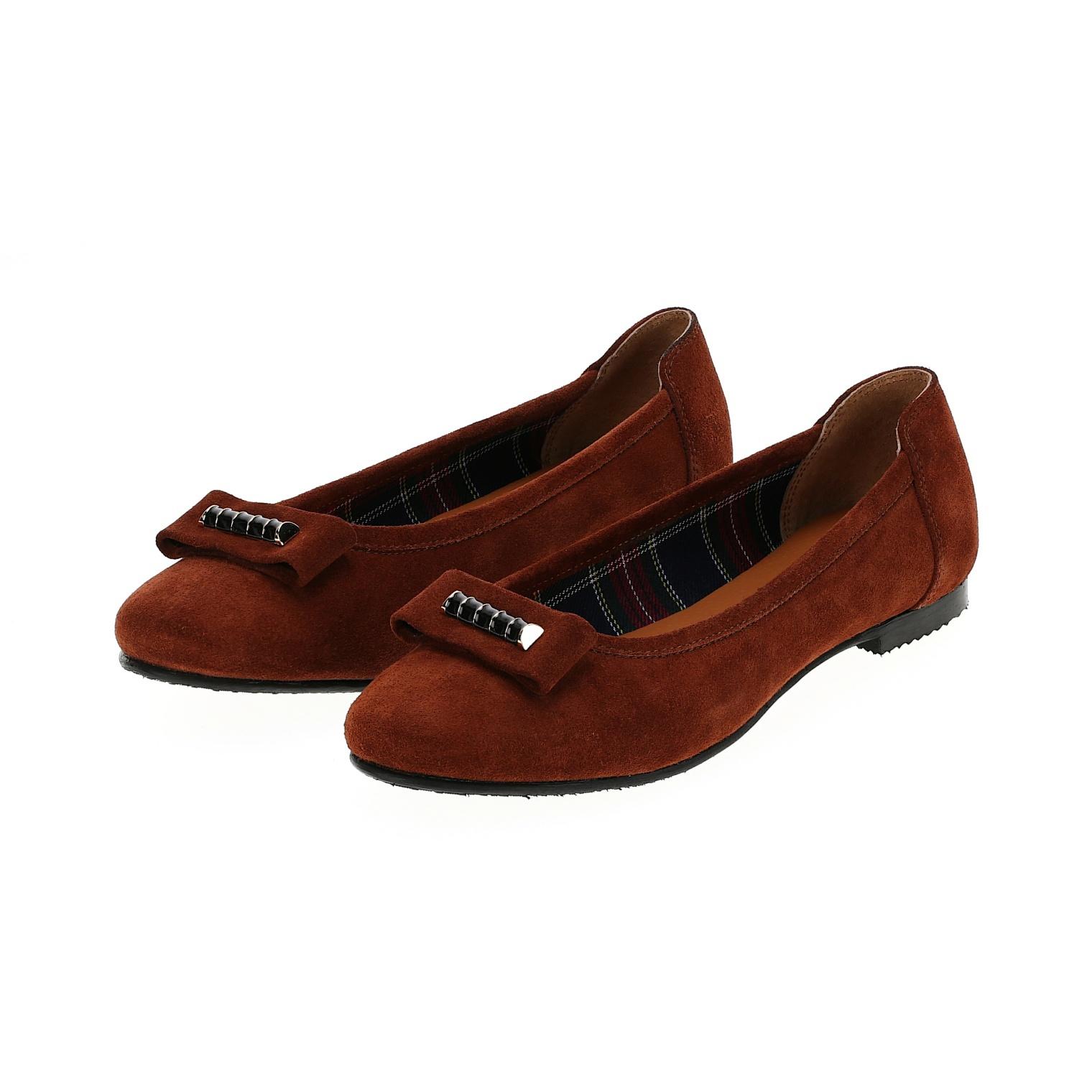 568298 Туфли женские терракот замша больших размеров марки Делфино