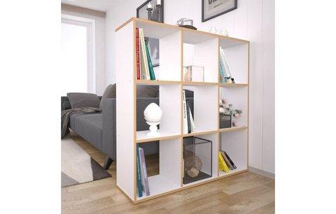 Стеллаж Polini Home Smart Кубический 9 секции, белый, эффект фанеры