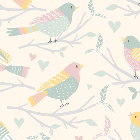 Птички на ветке на бежевом фоне