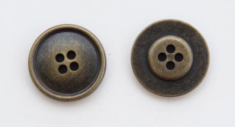 Пуговица металлическая, двусторонняя, цвет латунь, 23 мм