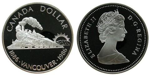 1 доллар. 100 лет городу Ванкувер. Канада. 1986 г. PROOF Серебро