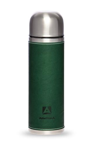 Термос Арктика (108-1000 зелёный) 1 литр с узким горлом, зеленый, кожаная вставка