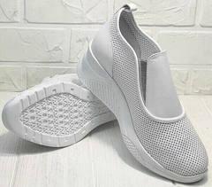 Белые кроссовки без шнурков сникерсы женские лето city casual Derem 1761-10 All White.