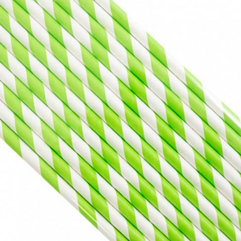 Трубочки бумажные Зеленые, 200*6мм, 25шт